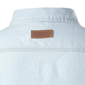 Image 3 - New Men Jeans Blue Shirt Chemise Homme 2017 Fashion Flip Pockets Mens Slim Fit long Sleeve Denim Shirts Camisa Masculina