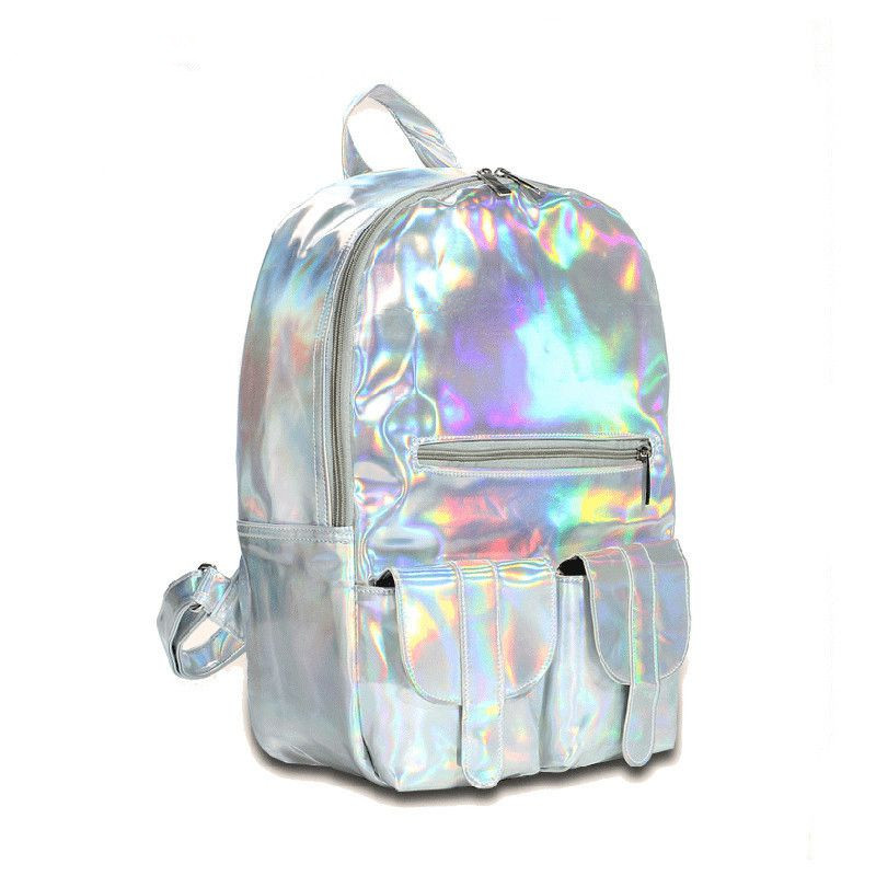 Hot Feel Hotselling Fashion Hologram Backpack For School Student Women s Laser Silver Color Holographic Bag