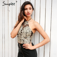 Simplee Elegant White Lace Crop Top Summer Beach Black Short Halter Tops Sexy Gold Party Camis