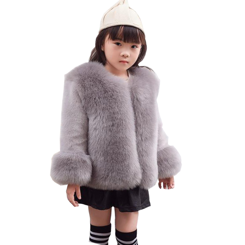 Thick Kids Clothes Winter Fur Coat Clothing For Girl Outerwear Luxury Faux Fur Jacket Coat  Girls Autumn Winter Fox Fur Coat new hooded fur collar clothing women korean costume loose long outerwear female large size thick winter coat female okxgnz q1057
