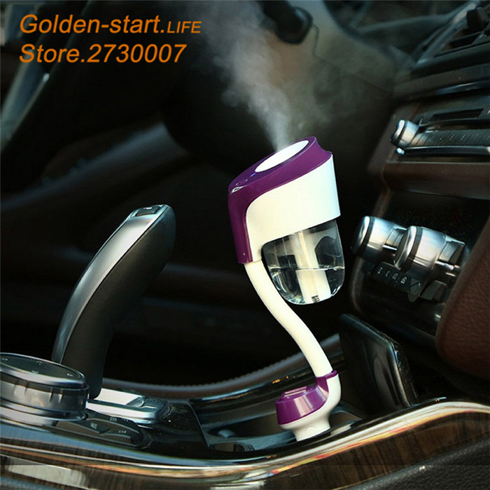 12V Double USB Interface Car Diffuser Ultrasonic Air Humidifier Portable Car Air Humidifier Essential Aroma Oil Diffuser