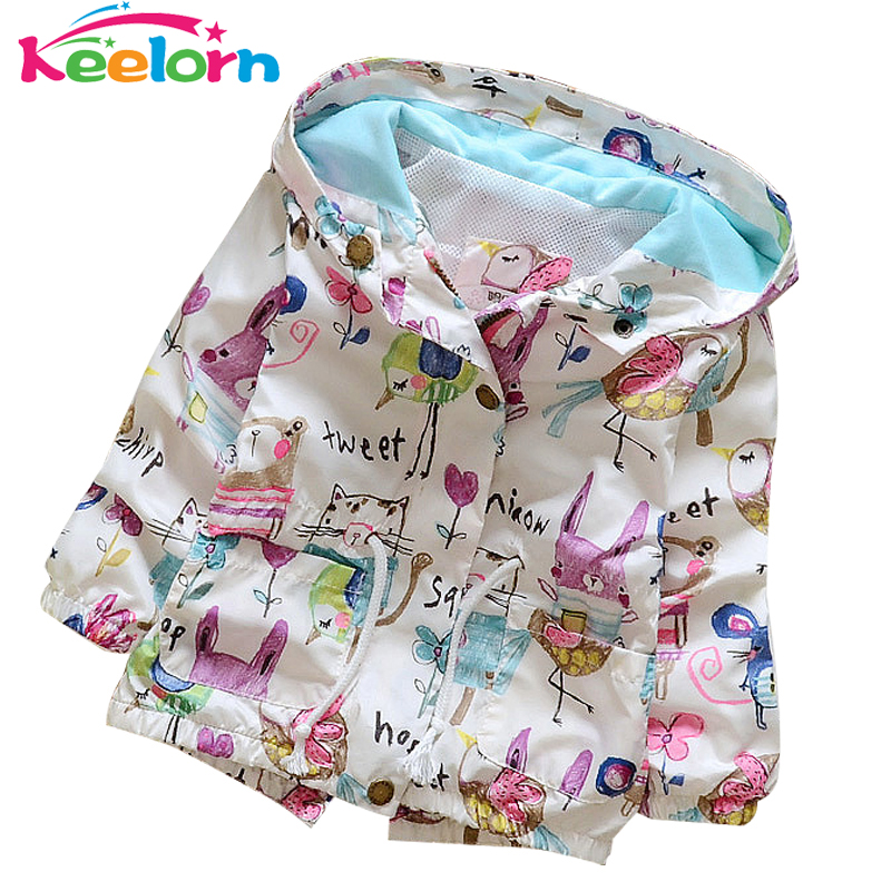 Keelorn Fashion Baby Girls Coats 2017 Autumn Jackets Hooded Graffiti Printing Baby Outerwear&Coats Kids Children Clothing 4-24M