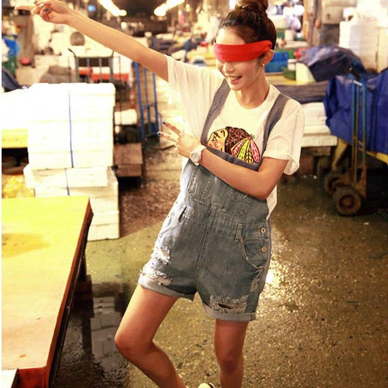 Для женщин деним огорчает Стиль Повседневное комбинезон спереди карман с клапаном короткие Комбинезоны для девочек Девушка Промытые Джинс...