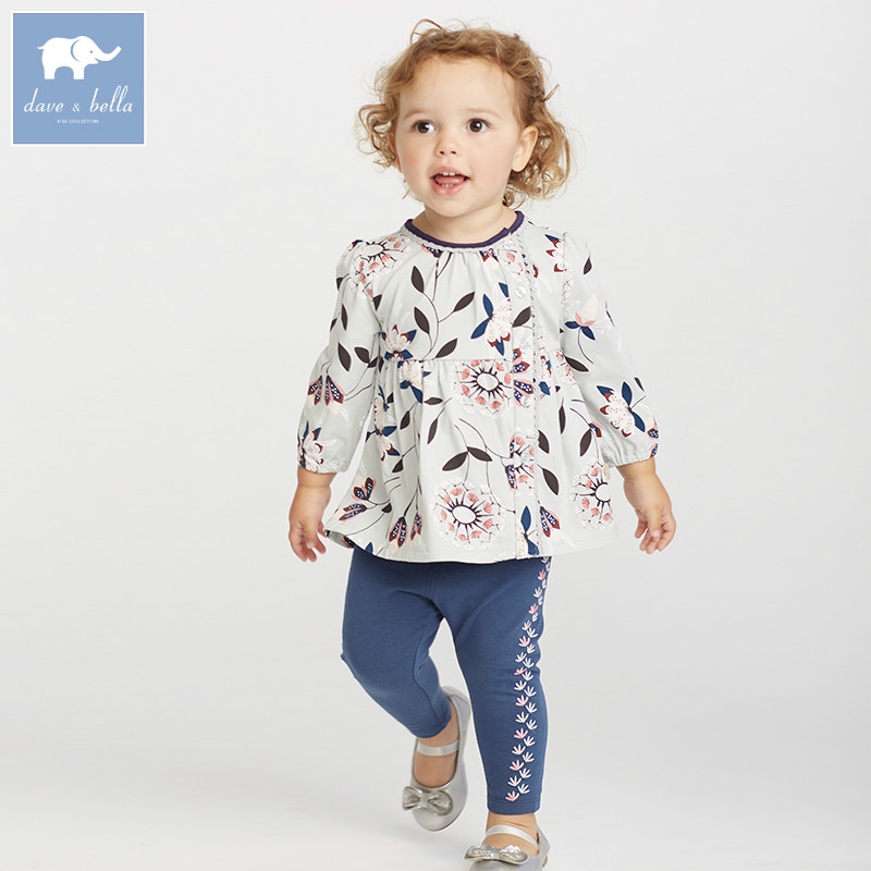 DB5819 dave bella autumn baby infant girls clothing sets printed suit children toddler outfits high quality clothes