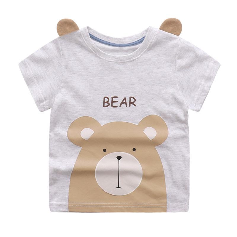HTB1WTD4SFXXXXXjXpXXq6xXFXXXW - Cute Summer New Girls Boy T-shirt Children's Bottom Kids Lovely 3D Animal Cartoon Shirt Baby Clothes, Dinosaur/ Bear/ Elephant