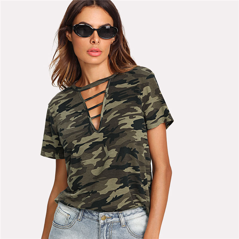 Strappy Choker Neck Camo Summer Neck Cut Out Tee