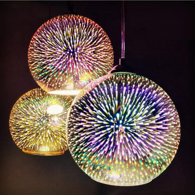 LuKLoy LED Pendant Lights Mirror Glass Ball Firework Lampshade Pendant Lamp For Loft Restaurant Bar Dining Room Kitchen Island