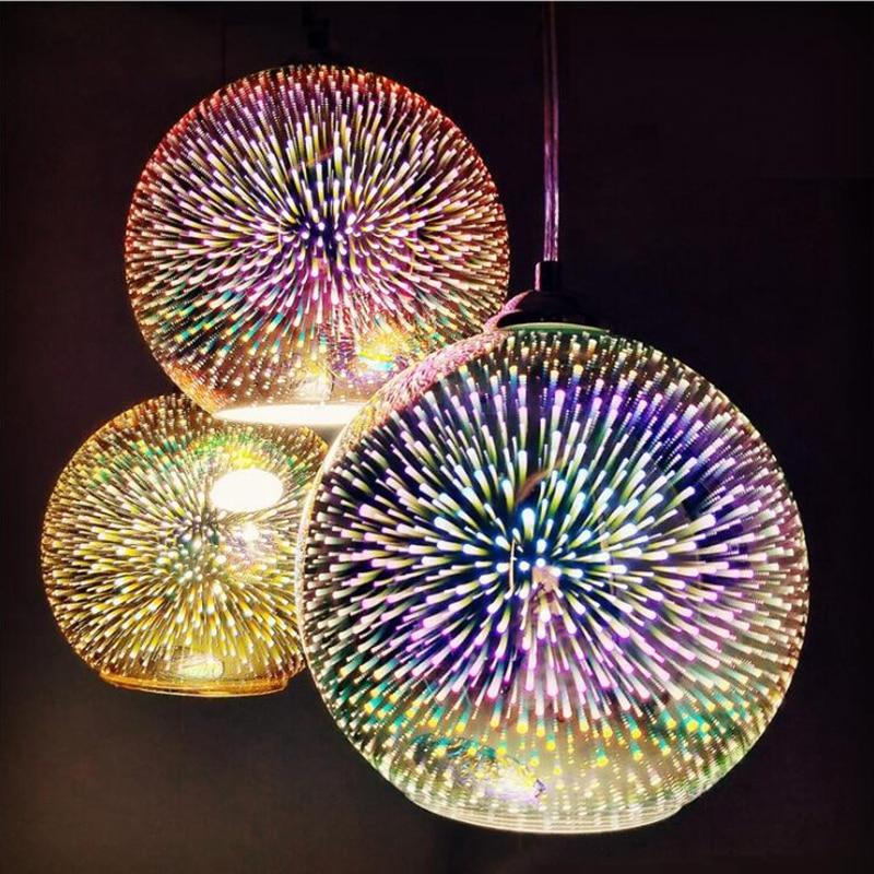 LuKLoy LED Pendant Lights Mirror Glass Ball Firework Lampshade Pendant Lamp For Loft Restaurant Bar Dining Room Kitchen Island