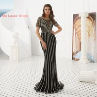 Long Red Mermaid Evening Dresses Prom Gown With Sleeves Illusion New Formal Party Gowns Vestido De Festa