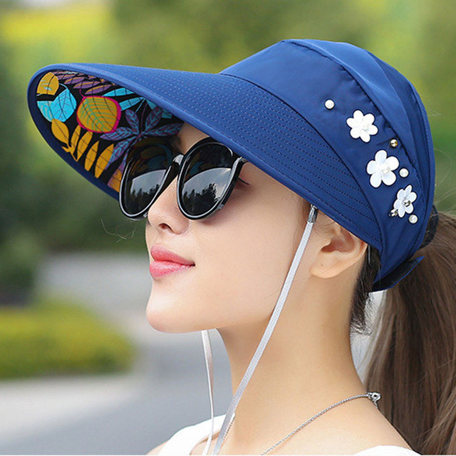 adf6f13841c 2017 Summer Hats For Women Chapeu Feminino Beach Sun Hats For women New  Fashion Outdoors Visors Panama Floppy Girl Cap Sun Hat