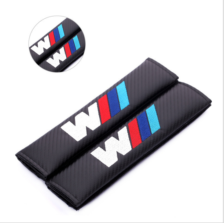 Carbon Fiber Cloth Car For BMW M Logo Shoulder Pad Sleeve Seat Safety Belt Cover For BMW 1 3 5 7 Series F30 F20 F10 Accessorie