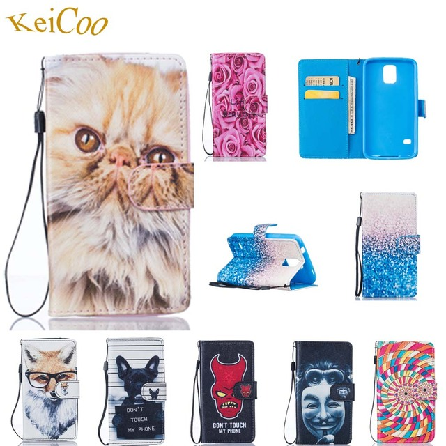 S5 Book Flip Case S5Neo PU Leather Art Print Covers For Samsung Galaxy S5 SM-G900F S5 Neo SM-G903F Wallet TPU Cases Full Housing