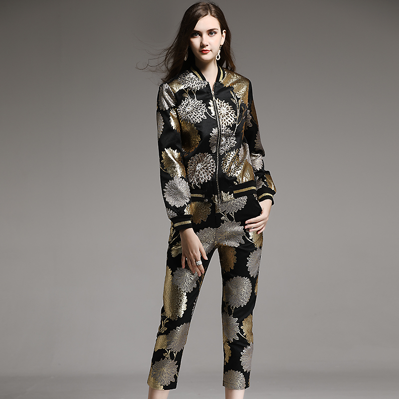 Luxurious Beading  Jacket Coat+Calf-Length Pants 4