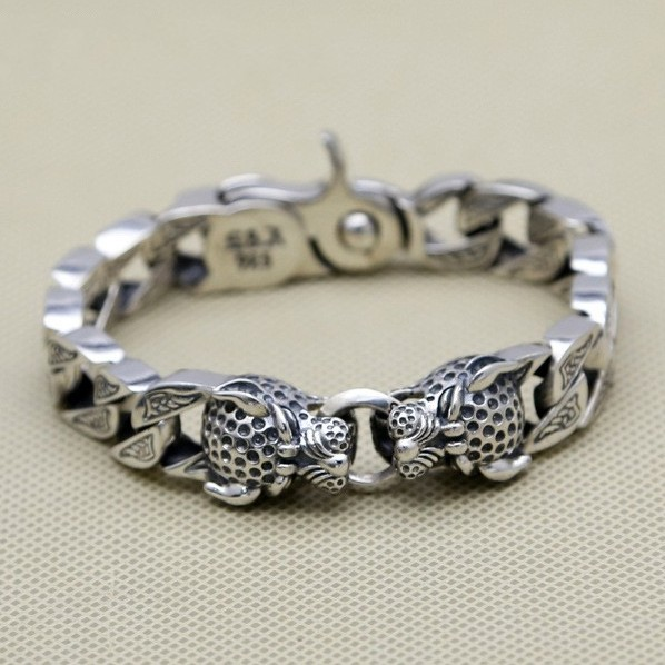 100-S925-solid-pure-silver-jewelry-double-leopard-head-thick-chain-men-s-vintage-Thai-silver