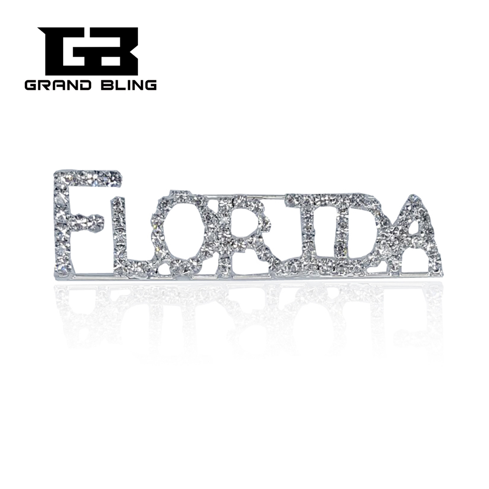 USA States Theme Gift Bling Rhinestone FLORIDA State Word Pin Crystal Brooch Jewelry