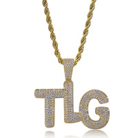 Hip Hop White AAA CZ Stone Paved Bling Iced Out TLG Letter Alphabet Pendants Necklace for Men Rapper Jewelry Gold Silver