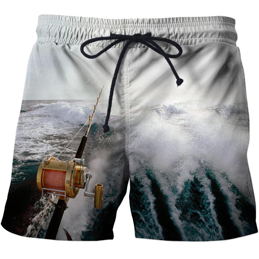 3D Fishing Printed Men Board Shorts  Bermuda Surf Swimming Shorts  Quick Dry Short Swim Trunks Funny Men 3D Fish Beach Shorts