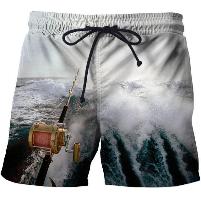 4b3e2dec51 3D Fishing Printed Men Board Shorts Bermuda Surf Swimming Shorts Quick Dry  Short Swim Trunks Funny Men 3D Fish Beach Shorts