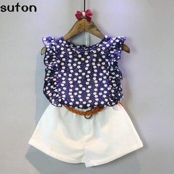 Baby Girls Clothes Set 2018 Summer Fashion Kids Clothes Children Clothing Flower Dark Blue Tops+white Shorts Clothing 2pcs Set conjuntos casuales para niñas