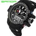 SANDA Ударопрочный мужские спортивные часы цифровой аналоговый 30 м водонепроницаемый моды часы каучуковый ремешок relojes hombre 2017