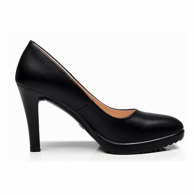 Image 3 - GKTINOO Leather Shoes Women Pointed Toe Pumps Sapato feminino High Heels Shallow Fashion Black Work Shoe Plus Size 33 43Womens Pumps   -