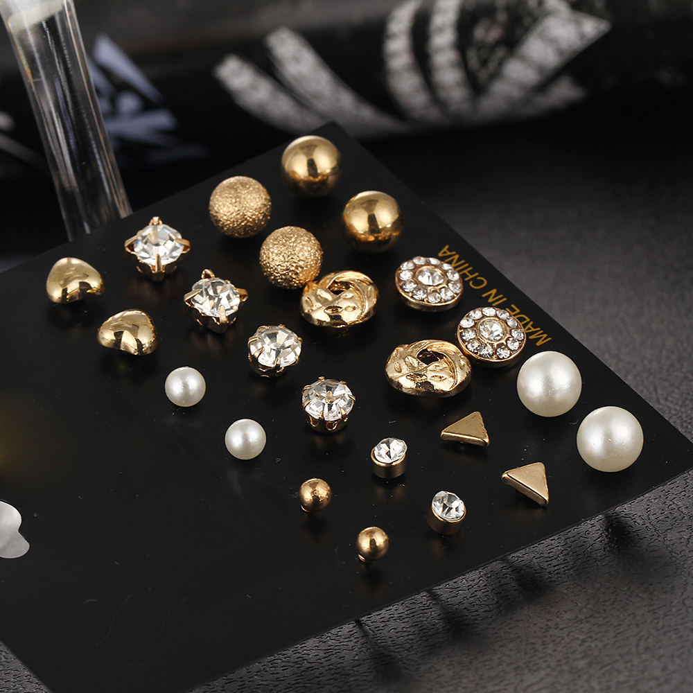 12 kom / set Kristalna legura okrugla kugla Zlatna naušnica Vintage - Modni nakit - Foto 4