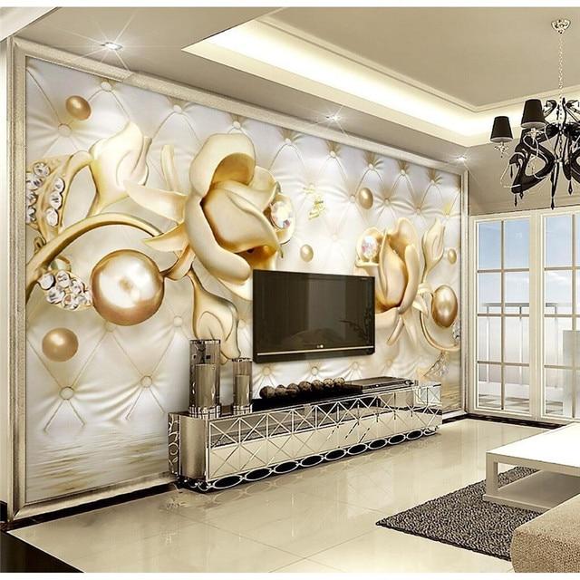 Benutzerdefinierte Jeder Größe Moderne Wandtapete Weiche Tasche Diamanten  Gelbe Rose Luxus Wandverkleidung Schlafzimmer Mural Hintergrund Tapeten