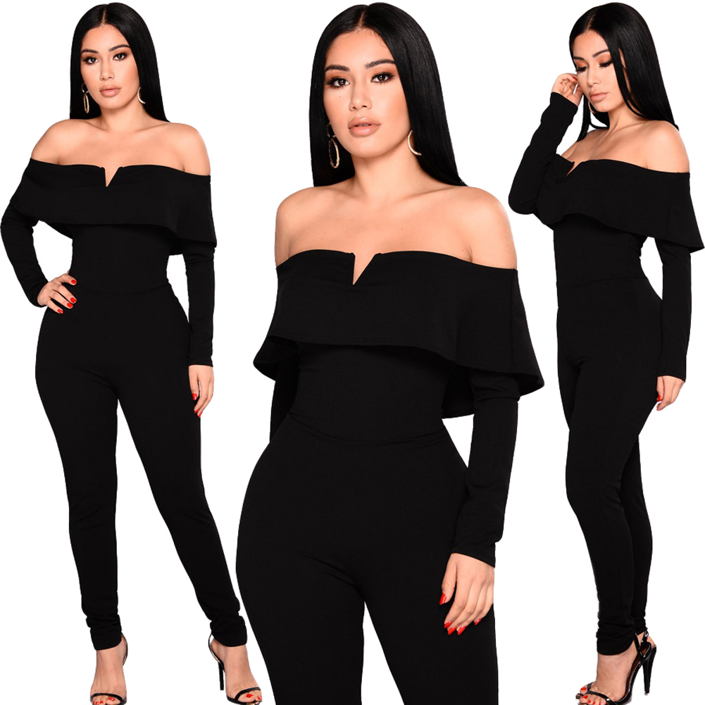 New Sexy Women Off the Shoulder   Jumpsuit   Ruffle Long Sleeves Zip Slim Romper Ladies Long Body Suit Black Playsuit for Women 2019