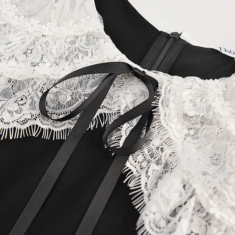 Noir Col Mince En Summer Party Conception Robes Femmes Élégant Blanc Dentelle Robe Marque 2018 Originale Palais Vintage Gros qxnT8XwSR