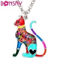 bonsny-enamel-alloy-elegant-floral-kitten-cat-necklace-pendant-collar-fashion-animal-jewelry-for-women-girl-lady-pet-lovers-gift