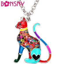 Bonsny Enamel Alloy Elegant Floral Kitten Cat Necklace Pendant Collar Fashion Animal Jewelry For Women Girl Lady Pet Lovers Gift(China)