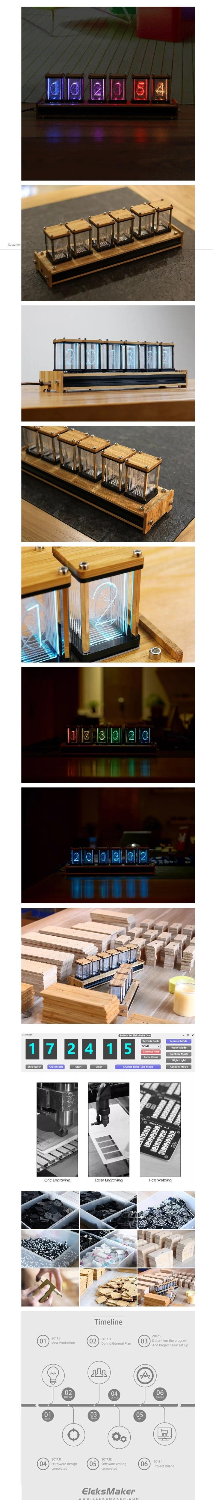 eleksmaker<ALIMT >®</ALIMT> elekstube bamboo 6-bit kit time electronic led luminous glow tube clock time flies lapse Sale - Banggood.com _ Shopping India