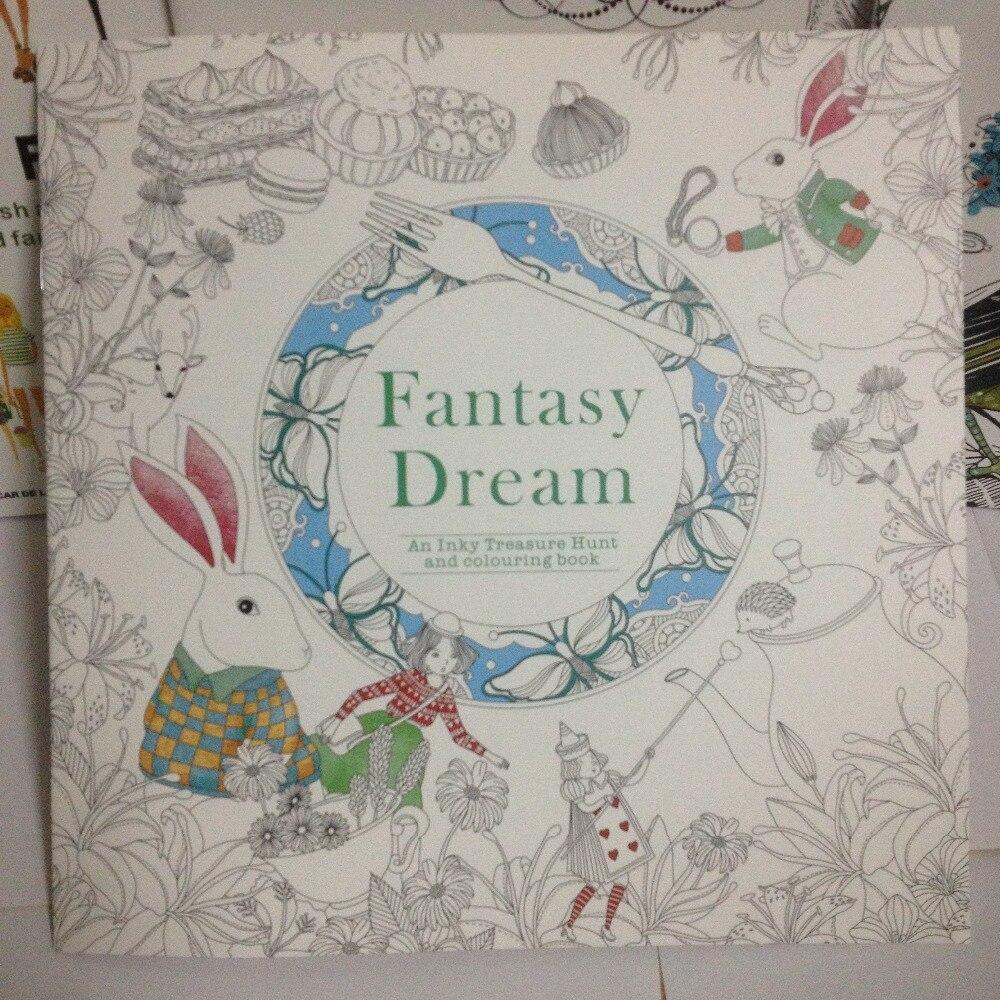 Coloring book untuk dewasa - 25x25 Cm 24 Halaman Fantasi Mimpi Edisi Bahasa Inggris Buku Mewarnai Untuk Anak Anak Dewasa
