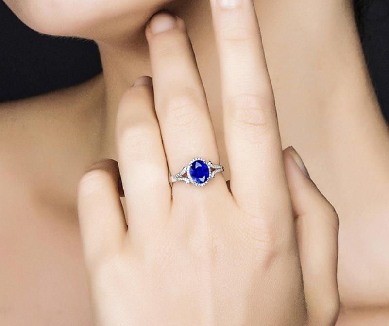 1 карат 925 Серебряное кольцо танзанит Diamant кольцо ювелирные изделия Сапфир Обручальное кольцо диапазона (La)