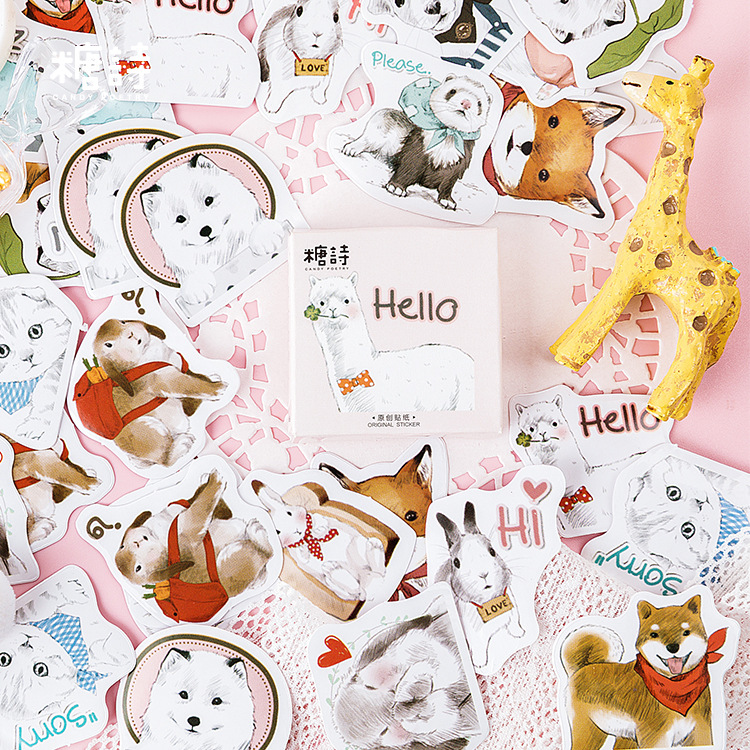 45 Pcs/pack Animal Collection Journal Decorative Washi Box Stickers Scrapbooking Stick Label Diary Stationery Album Stickers