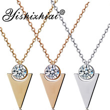 Triangle High Quality Pendant Necklace Cubic Zirconia Gold Minimalist Necklace Women Trendy Jewelry Collier Femme(China)