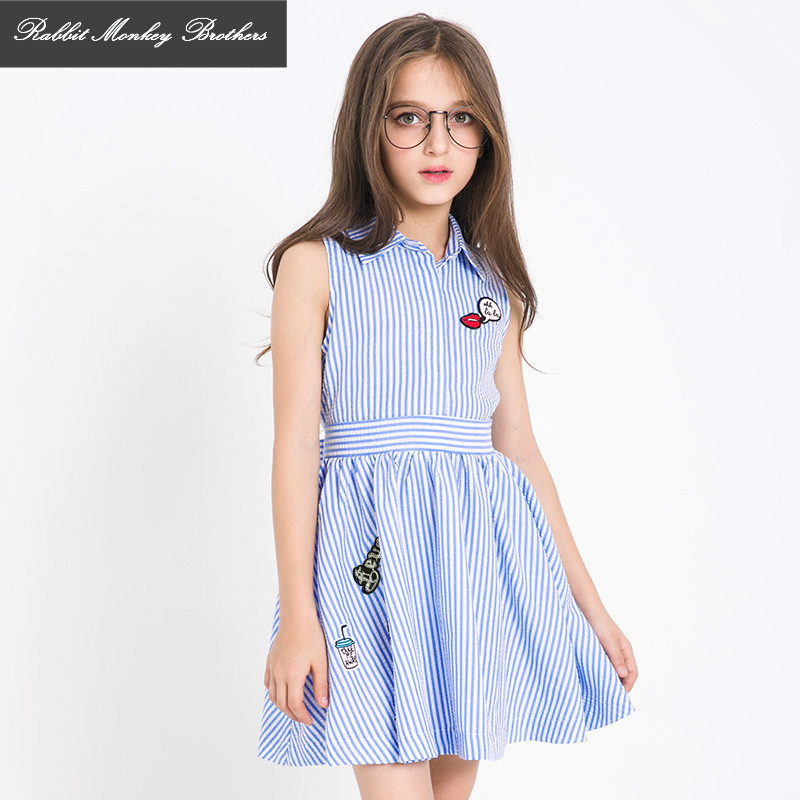 Teen Girls summer dress 2017 new children princess dress Fashion striped dresses for girls 5 6 7 8 10 11 12 13 15 years old