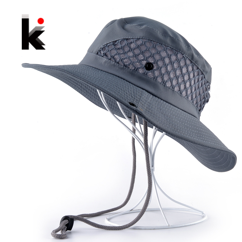 Summer Bucket Hat Breathable Mesh Beach Hats Man Wide Brim Sun Gorra Mujer Men's Outdoors Foldable UV Protection Fishings Caps
