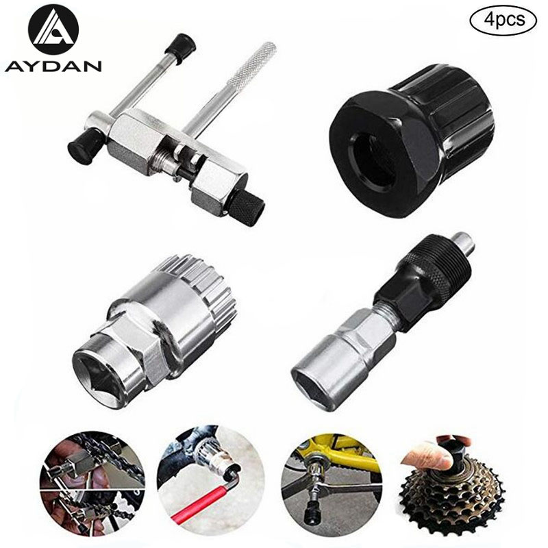 4 PCS Bicycle Repair Tool  Cycling MTB Bike Chain Crank Wheel Bottom Bracket Center Axle Remover  Multifunction Tools Set