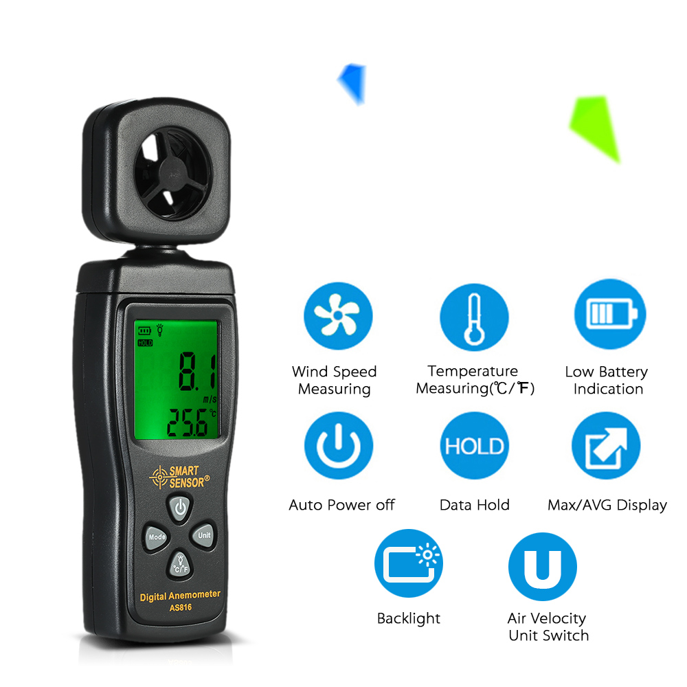 LCD Digital Mini Anemometer Multifunctional Wind Speed Meter diagnostic-tool Air Velocity Temperature Measuring with Backlight portable 0 45m s digital anemometer high precision lcd display wind speed air velocity temperature measuring meter