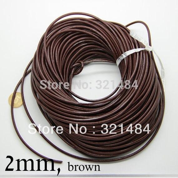 Коричневый 100 м guniune реального круглый кожаный шнур 2 мм кожа канаты поставок изготовления ювелирных изделий
