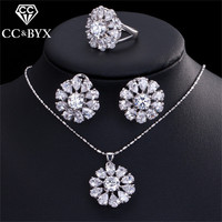 CC Jewelry Set For Women Accessories White Gold Color 3 Pcs Necklace Earrings Ring Cubic Zirconia