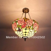 Tiffany glass chandelier in the living room European style garden butterfly lamp bedroom lamp scales DIA 41 CM H 56 CM