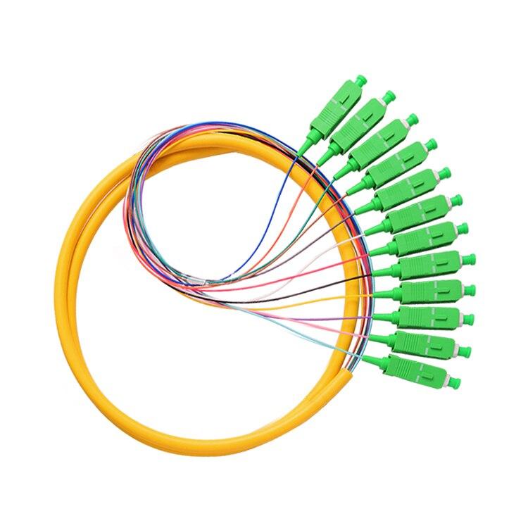 12 Strand 9/125 Fiber Optic Pigtail 1.5m SC/APC Single Mode
