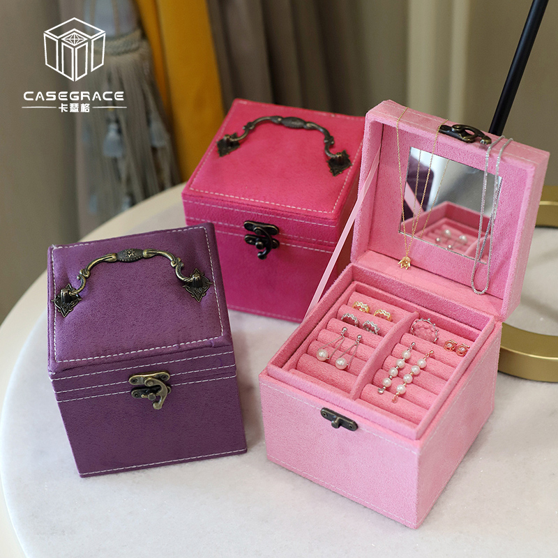 Casegrace Three Layers Velvet Jewelry Box Ring Earrings Necklace Storage case Flannel Leather Makeup Organizer Women Gift Boxes makeup organizer box