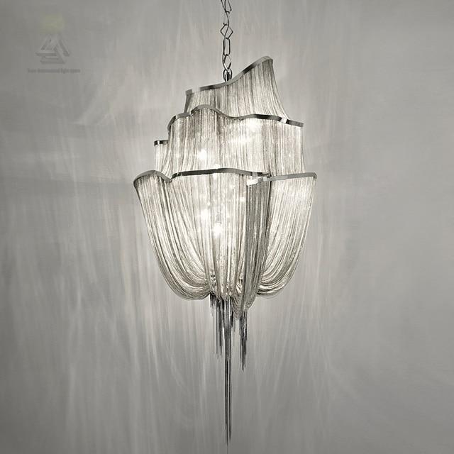 Luxury Silver Tassel Modern Chain Pendant Light Fixture Vintage Hanging Suspension Re Lamp Drop