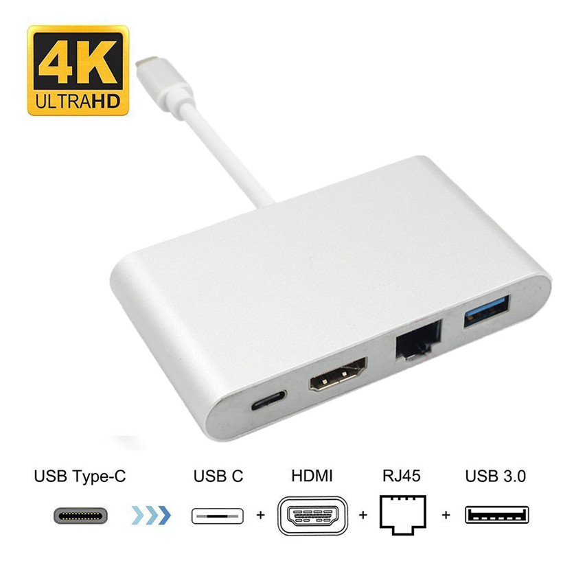 USB C to HDMI 4K+Gigabit Ethernet (RJ45 Port)+USB 3.0 USB 3.1 Type C Adapter usb hdmi vga adapter hdmi vga adapter audio power сетевая карта для сервера hp ethernet 1gb 4 port 331flr adapter 629135 b22