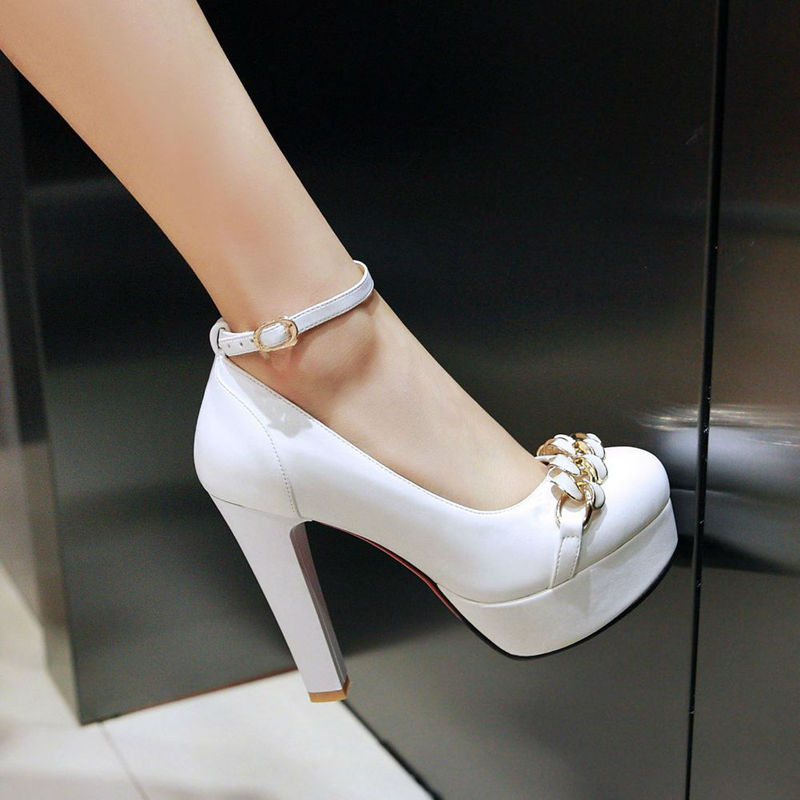 ФОТО Women shoes heels 2017 autumn women shoes pumps high heels platform pumps white mary iane shoes valentine shoes big size 41-43