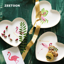Ins Creative Flamingo Plate Ceramic Porcelain Heart-shaped Pastry Dish Spaghetti Plates Fruit Saucer Home Tableware Dinnerware(China)