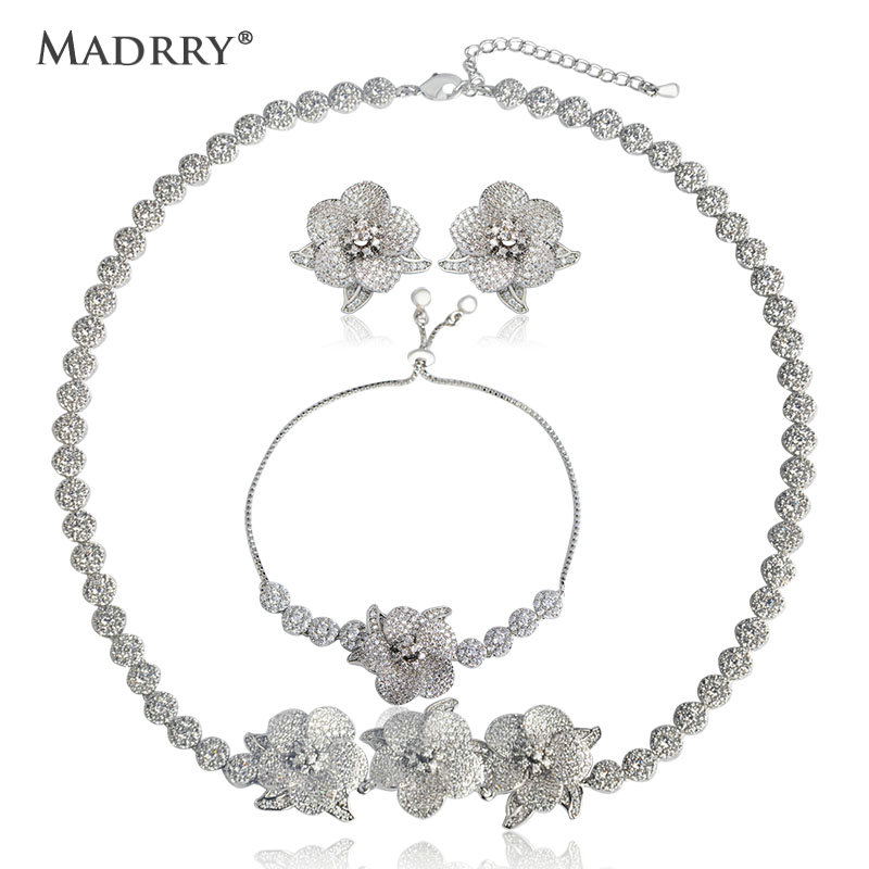 Madrry Elegant Flower Shape Copper Jewelry Sets Full Cubic Zircon Necklace & Earrings & Bracelet For Bridal Wedding Jewelry Set uilz luxury flower shape clear cubic zircon necklace earrings bracelet ring jewelry set for women wedding us225